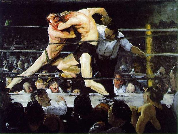 """Exhibit: George Bellows at the National Gallery of Art  The best photos of Muhammad Ali, snapped largely by Neil Leifer of Sports Illustrated, capture the boxer's ferocity (as when he's yelling into the face of a downed Sonny Liston in 1965) and intensity (another Liston moment, this one from 1964). Even more than film or prose, still photographs captures the most important moments in a fight. But there are things that even the best boxing photography cannot deliver. The specificity of a photographed moment alienates as from what happened in the seconds before and after, and from the flow of the fight. Though he died in 1925, long before boxing became the sport it is today, painter George Bellows knew how to capture the flow of a fight. 1909's """"Both Members of This Club"""" shows two boxers heaving against each other; their ribs and necks pink and pulpy from not just punches, but the strain of staying in the fight. """"Stag at Sharkey's,"""" from the same year, is epitome of hand-to-hand combat. Both paintings are what modern boxing photography aspires to be. To Oct. 8 at the National Gallery of Art, between 3rd and 9th Streets at Constitution Avenue NW. Phone: (202) 737-4215. Web: http://www.nga.gov/exhibitions/bellowsinfo.shtm"""