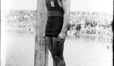 Duke Kahanamoku (Native Hawaiian) prepares to dive, 1920 Olympics, Antwerp, Belgium. (Library of Congress, Prints and Photographs Division)