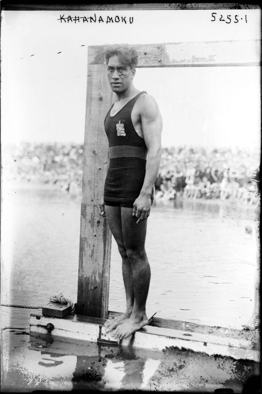 Duke Kahanamoku (Native Hawaiian) prepares to dive, 1920 Olympics, Antwerp, Belgium. (Library of Congress, Prints and Photographs Division)
