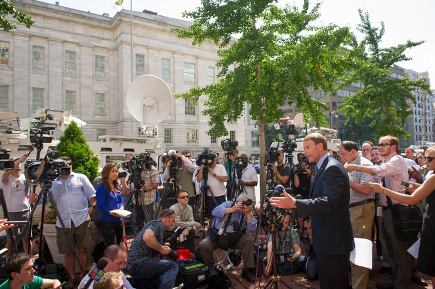 Family Research Council President Tony Perkins offers remarks to reporters outside of the Family Research Council headquarters in Washington, D.C., Thursday, August 16, 2012. (Rod Lamkey Jr./The Washington Times)