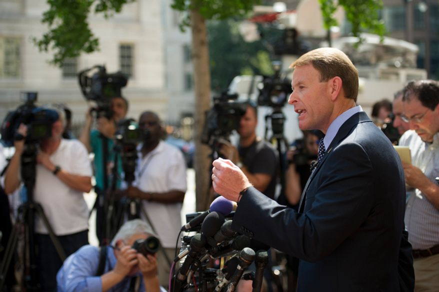 Family Research Council President Tony Perkins fields questions from reporters outside of the Family Research Council headquarters in Washington, D.C., Thursday, August 16, 2012. (Rod Lamkey Jr./The Washington Times)
