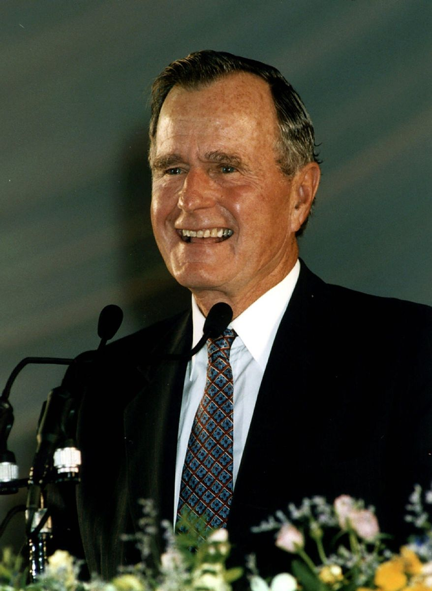 Former U.S. President George Bush addresses before 50,000 people in an assembly of the Women's Federation for World Peace that organized by Rev. Sun Myung Moon's Unification Church on THursday night, Sept. 14, 1995 at Tokyo Dome baseball stadium in Tokyo. (AP Photo/HO)