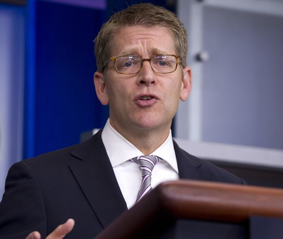 White House spokesman Jay Carney speaks Aug. 16, 2012, during his daily news briefing at the White House in Washington. (Associated Press)