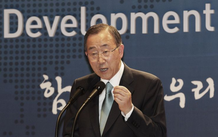 **FILE** U.N. Secretary General Ban Ki-moon speaks Aug. 13, 2012, during a ceremony to launch the Development Alliance Korea, a coalition of local civic groups to promote overseas development aid, at the Foreign Ministry in Seoul. (Associated Press)