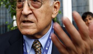 **FILE** Former Algerian foreign affairs minister Lakhdar Brahimi attends the Ambrosetti economic forum in Cernobbio, Lake Como, Italy, on Sept. 4, 2009. (Associated Press)