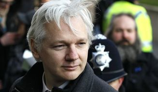 ** FILE ** In this Feb. 1, 2012, file photo, Julian Assange, WikiLeaks founder, arrives at the Supreme Court in London. (AP Photo/Kirsty Wigglesworth, File)