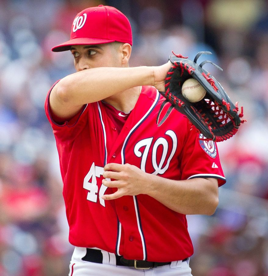 Nationals left-hander Gio Gonzalez didn't have his most dominant stuff, but he still won his 16th game to set the record for most victories in a season by a Nationals pitcher. Livan Hernandez held the record of 15. (Rod Lamkey Jr./The Washington Times)