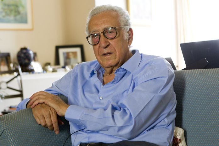 Lakhdar Brahimi, a former Algerian foreign affairs minister who was named Friday as the new U.N. envoy for Syria, gives an interview to the Associated Press in Paris on Sunday, Aug. 19, 2012. (AP Photo/Jacques Brinon)