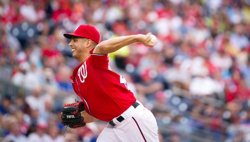 Washington Nationals pitcher Gio Gonzalez delivers in the top of the third inning. (Rod Lamkey Jr./The Washington Times)