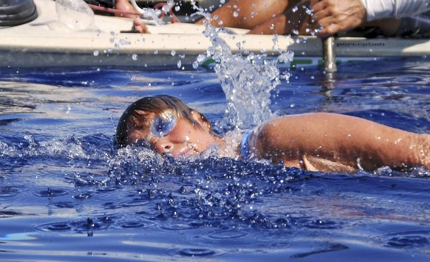 American endurance athlete Diana Nyad swims in the Florida Straits between Cuba and the Florida Keys on Sunday, Aug. 19, 2012. Nyad is endeavoring to become the first swimmer to transit the straits without a shark cage. (AP Photo/Diana Nyad via the Florida Keys News Bureau, Christi Barli)
