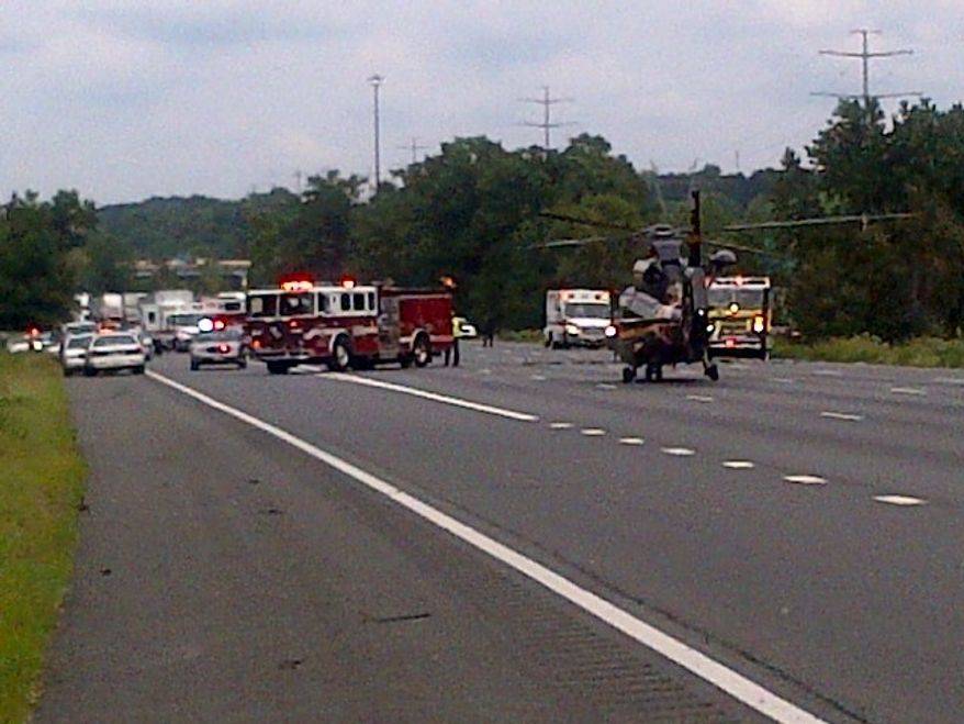The scene from the police vehicle-involved crash on I-95. Photo from Prince George's County fire department spokesman Mark Brady's Twitter feed.