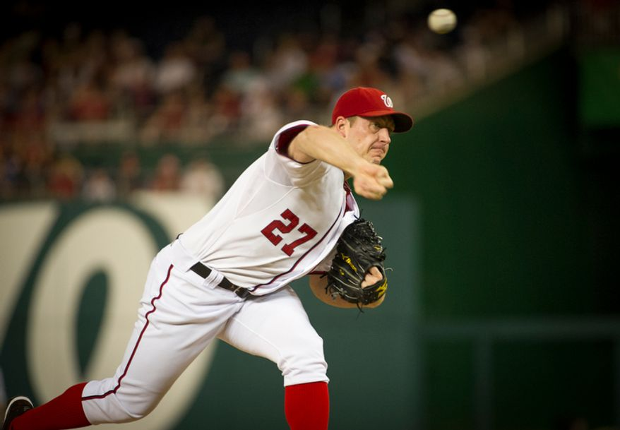 Washington Nationals pitcher Jordan Zimmermann delivers a pitch Aug. 20, 2012, in the first inning of the Nationals' game against the Atlanta Braves at Nationals Park in Washington, D.C. (Rod Lamkey Jr./The Washington Times)