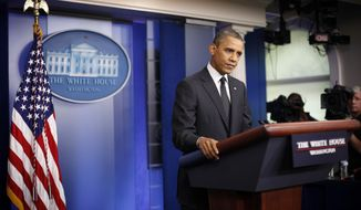 President Obama speaks in the White House briefing room in Washington on Monday, Aug. 20, 2012. (AP Photo/Pablo Martinez Monsivais)