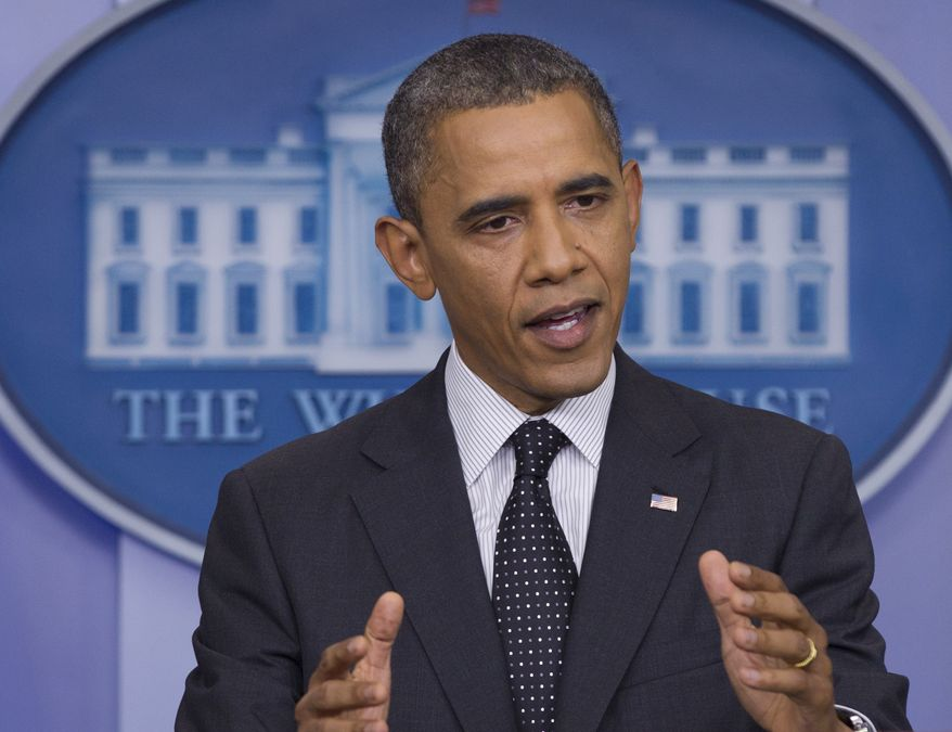 President Obama speaks Aug. 20, 2012, in the White House briefing room in Washington. (Associated Press)
