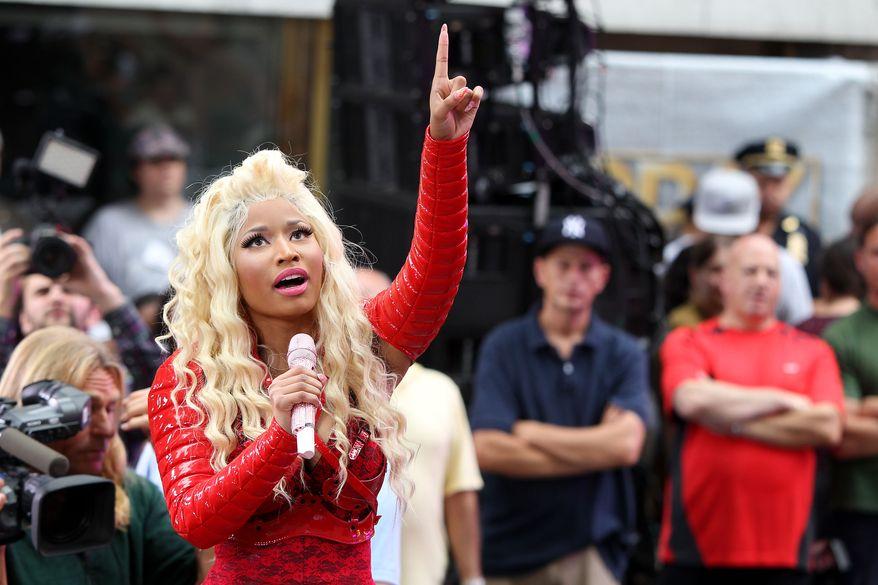 "**FILE** Nicki Minaj performs Aug. 14, 2012, on NBC's ""Today"" show in New York. (Associated Press/Starpix, Amanda Schwab)"