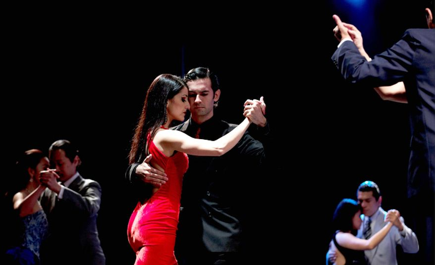 Couples compete during the 2012 Tango Dance World Cup in Buenos Aires, Argentina. (AP Photo/Natacha Pisarenko)
