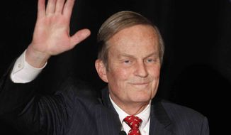 ** FILE ** In this Feb 18, 2012, file photo, Senate candidate Rep. Todd Akin, R-Missouri, waves to the crowd while introduced at a senate candidate forum during a Republican conference in Kansas City, Mo. (AP Photo/Orlin Wagner, File)