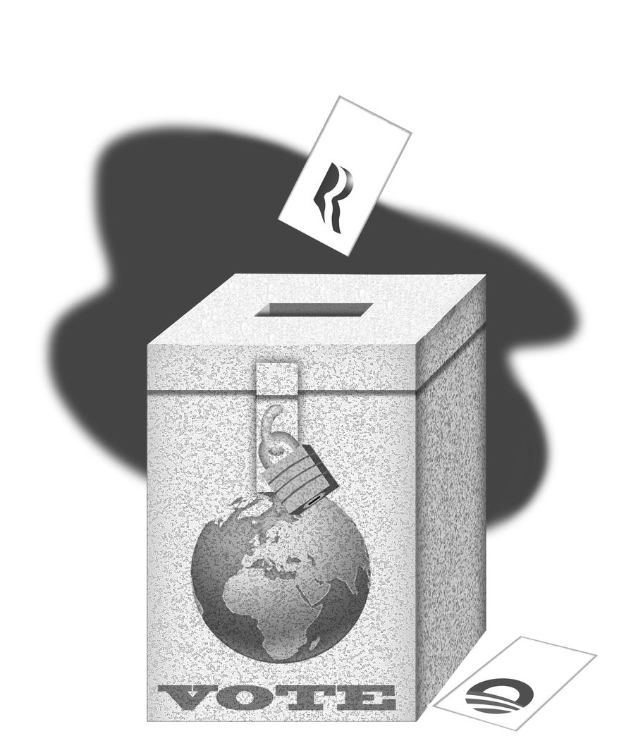 Illustration Romney-Ryan Vote by Alexander Hunter for The Washington Times