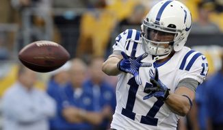 Indianapolis Colts wide receiver Austin Collie (17) warms up before an NFL preseason football game against the Pittsburgh Steelers in Pittsburgh, Sunday, Aug. 19, 2012. (AP Photo/Mark Duncan)