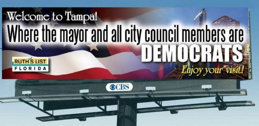 A screen capture of the Facebook page for political group Ruth's List Florida shows a billboard in Tampa, which went up this week on Interstate 275 near downtown. (Courtesy of facebook.com/RuthsListFlorida)