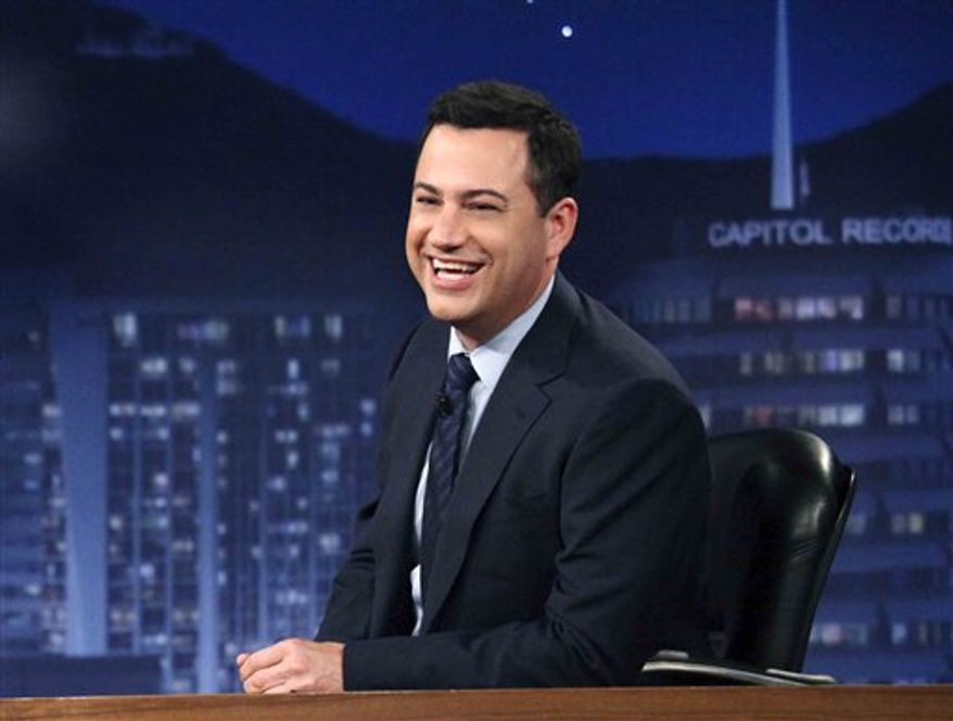 "This July 25, 2012 photo released by ABC shows Jimmy Kimmel hosting his late night show ""Jimmy Kimmel Live."" ABC says it's moving ""Jimmy Kimmel Live"" into the thick of the late-night fight against Jay Leno and David Letterman. Starting in January, Kimmel's talk show will take over the 11:35 p.m. time slot long held by the news magazine ""Nightline."" (AP Photo/ABC, Richard Cartwright)"