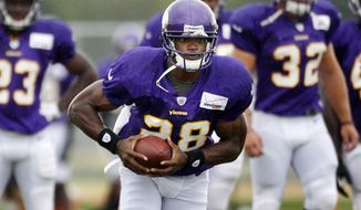 ** FILE ** Minnesota Vikings running back Adrian Peterson. (AP Photo/The Star Tribune, Jerry Holt)