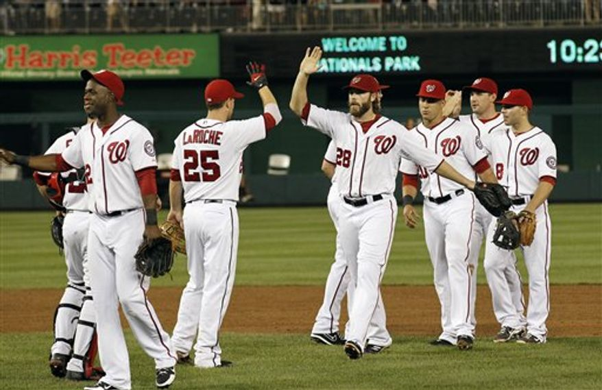 The Washington Nationals had a seven-game lead on the Atlanta Braves after Tuesday night's victory. (Associated Press)