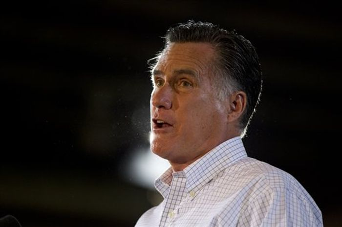 Republican presidential candidate Mitt Romney speaks Aug. 22, 2012, during a campaign stop at LeClaire Manufacturing in Midland, Texas. (Associated Press)