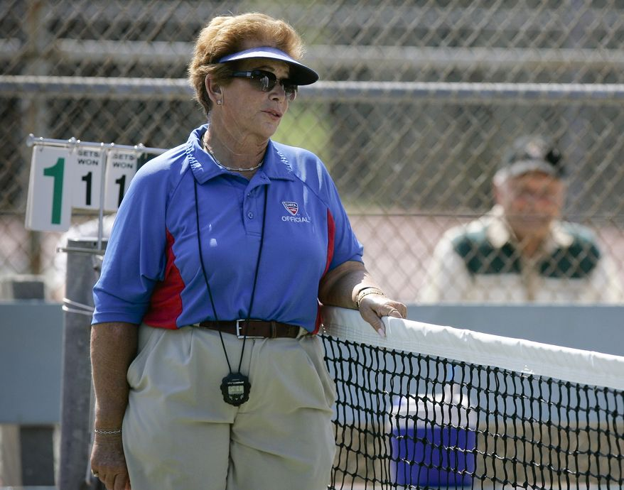 Professional tennis referee Lois Goodman officiates at a CIF tennis tournament in 2008. (AP Photo/Los Angeles Daily News, David Crane)