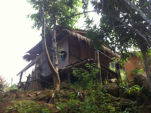 This July 21, 2012 photo shows a typical house in the Akha hill tribe village that is home to Akha Hill guest house. Perched at the head of a curving valley on the slopes of Doi Hang mountain, most of the village houses are still made of traditional bamboo, raised on stilts with covered outdoor platforms. But a few concrete houses have appeared, and even a handful of satellite dishes poking from the thatched rooftops. (Associated Press)