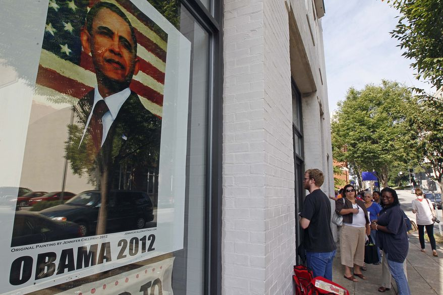 People wait Aug. 23, 2012, outside a campaign field office in Raleigh, N.C., to receive credentials for President Obama's acceptance speech during Charlotte's Democratic Convention. (Associated Press)