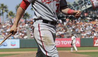 Washington Nationals right fielder Bryce Harper (34) against the San Francisco Giants in a baseball game in San Francisco, Wednesday, Aug. 15, 2012. (AP Photo/Jeff Chiu)