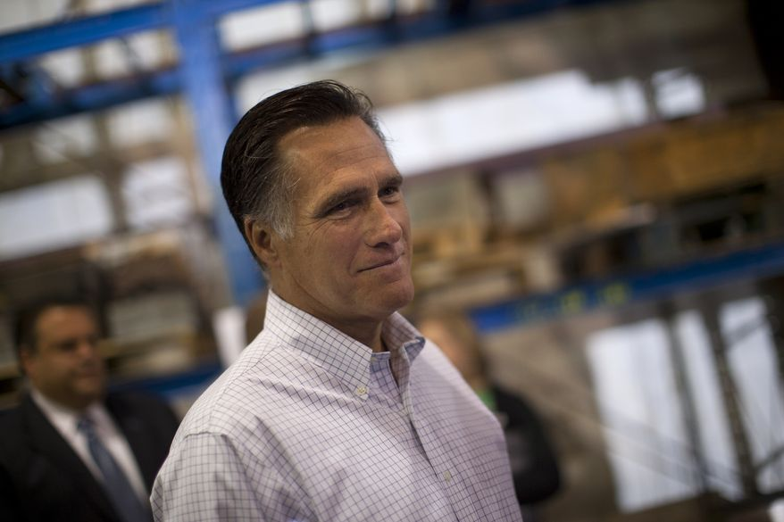 Republican presidential candidate Mitt Romney waits backstage to be introduced during a Aug. 22, 2012, campaign stop at LeClaire Manufacturing in Bettendorf, Iowa (Associated Press)