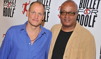 "Woody Harrelson (left) and Frankie Hyman are the co-authors of the off-Broadway play ""Bullet for Adolph,"" which has a semi-autobiographical plot that sprang from true events and unusual people the pair encountered while youthful construction workers. (AP Photo/The O and M Co., Jenny Anderson)"