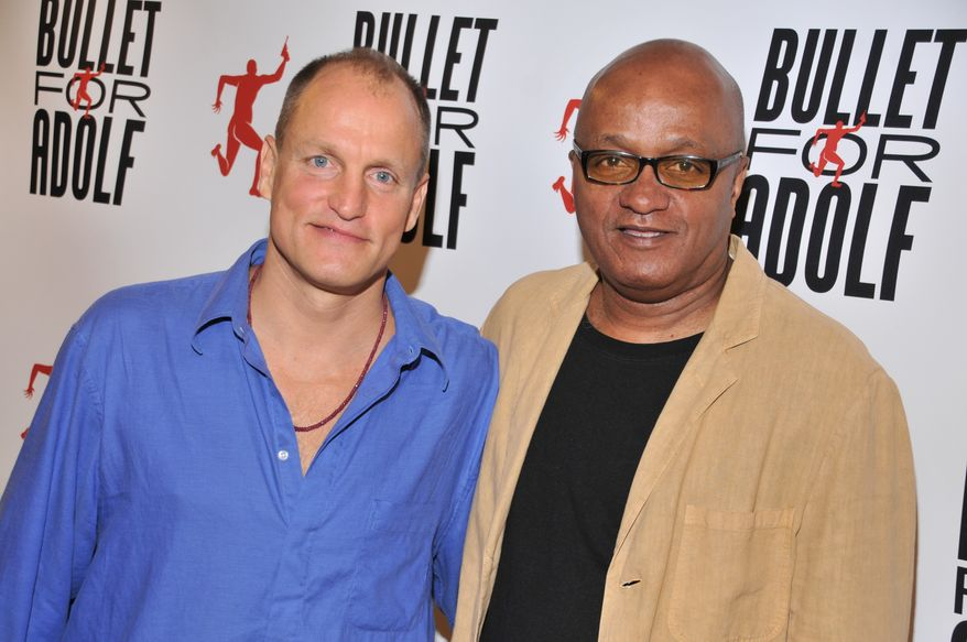 """Woody Harrelson (left) and Frankie Hyman are the co-authors of the off-Broadway play """"Bullet for Adolph,"""" which has a semi-autobiographical plot that sprang from true events and unusual people the pair encountered while youthful construction workers. (AP Photo/The O and M Co., Jenny Anderson)"""