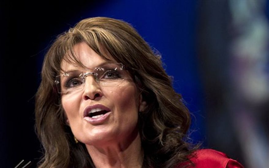 ** FILE ** In this Feb. 11, 2012, file photo, Sarah Palin, the GOP candidate for vice-president in 2008 and former Alaska governor, speaks in Washington. (AP Photo/J. Scott Applewhite)