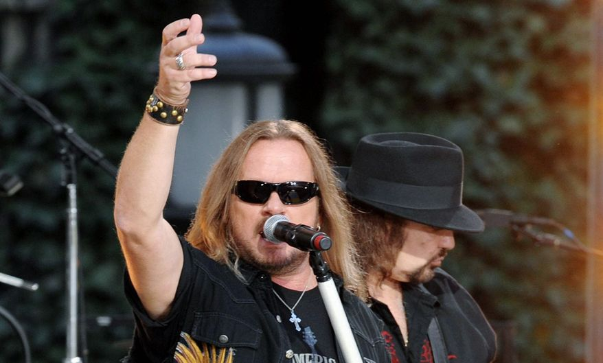Lynyrd Skynyrd, with singer Johnny Van Zant and Gary Rossington, appeals to the NASCAR wing that supports the Republican Party. (Associated Press)