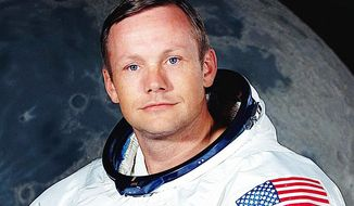 Neil Armstrong's first small step on the moon in July 1969 made the astronaut a worldwide icon. Mr. Armstrong died Saturday at age 82. (Associated Press)