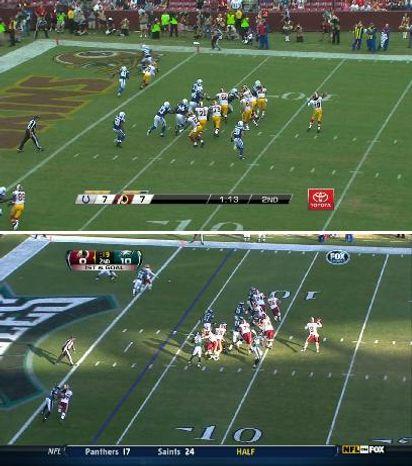 Robert Griffin III and Rex Grossman throwing the same sprint-out pass. / NFL.com