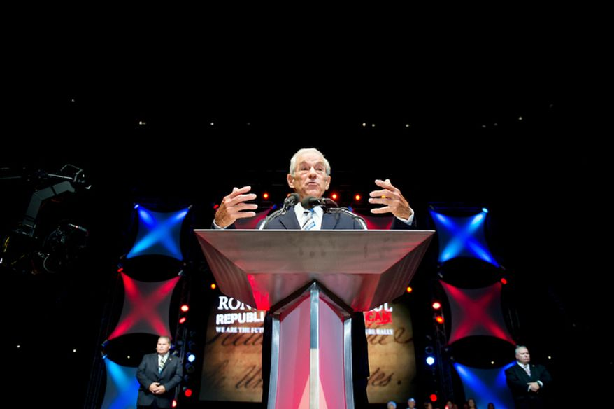 "Ron Paul speaks to supporters at the ""We Are the Future Rally"" at the Sun Dome at the University of South Florida, Tampa, Fla., Sunday, August 26, 2012.   (Andrew Harnik/The Washington Times)"