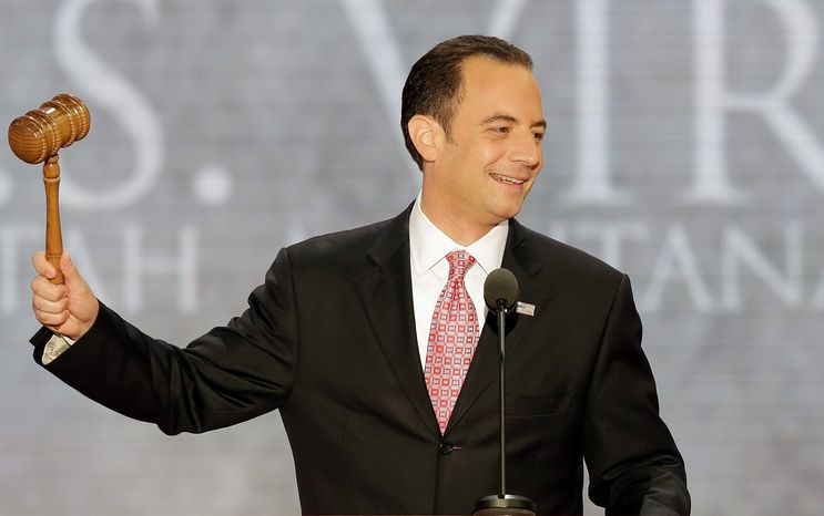 ** FILE ** Reince Priebus, chairman of the Republican National Committee, gavels open the abbreviated first session of the Republican National Convention in Tampa, Fla., on Monday, Aug. 27, 2012. (AP Photo/J. Scott Applewhite)