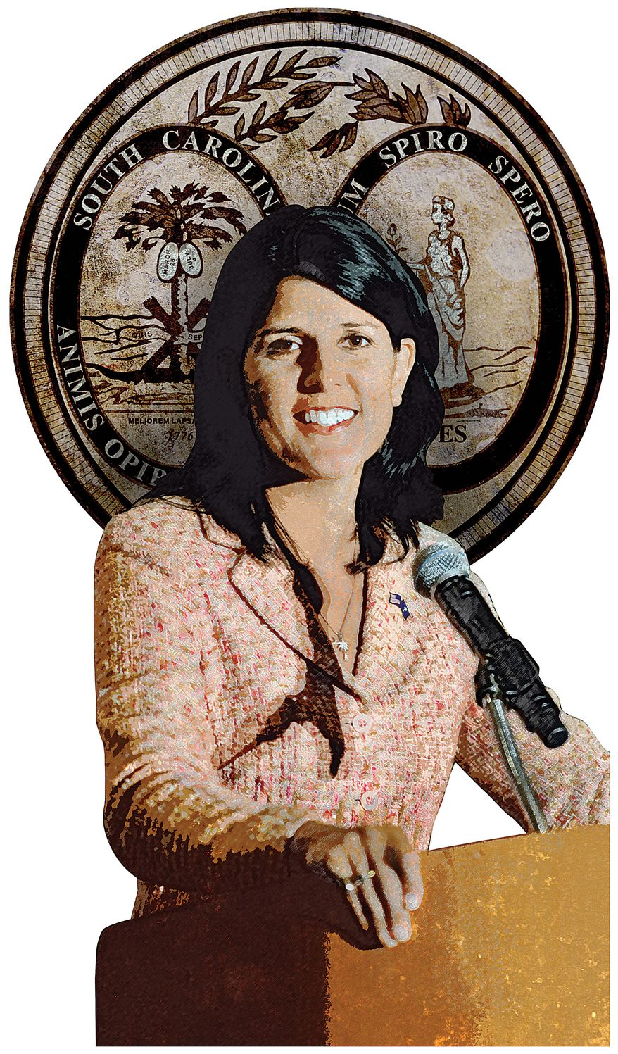 Illustration Nikki Haley by Greg Groesch for The Washington Times