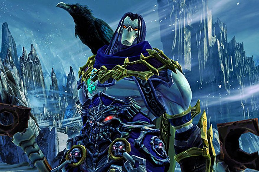Death and his feathered friend Dust star in the video game Darksiders II.