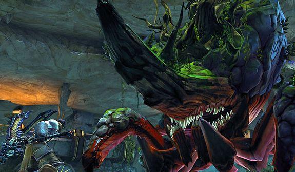 Death battles the mighty Karkinos in the video game Darksiders II.