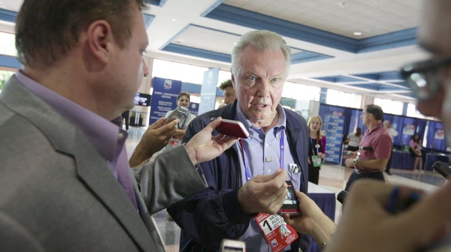 Actor Jon Voight speaks with the media at the National Republican Convention (RNC) discussing government policies and practices, in Tampa, FL., Monday, August 27, 2012. The RNC will run from the 27th through the 30th of August.(Andrew S. Geraci/The Washington Times)