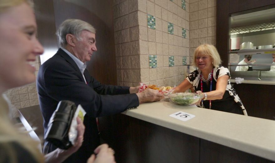 Sam Donaldson, on-air news anchor, picks up his lunch at the National Republican Convention (RNC), in Tampa, FL., Monday, August 27, 2012. The RNC will run from the 27th through the 30th of August.(Andrew S. Geraci/The Washington Times)