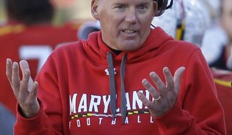 FILE - This Nov. 5, 2011 file photo shows Maryland head coach Randy Edsall reacting on the sideline in the final moments of the second half of an NCAA college football game against Virginia,  in College Park, Md.  Bouncing back from last year's 2-10 disaster just got a whole lot more challenging for Maryland following a season-ending injury to C.J. Brown. (AP Photo/Patrick Semansky, File)