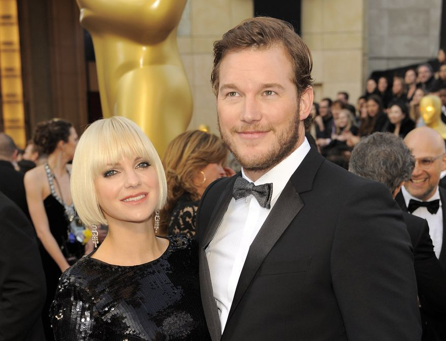 **FILE** Anna Faris (left) and Chris Pratt attend the 84th Academy Awards on Feb. 26, 2012, in the Hollywood section of Los Angeles. (Associated Press)