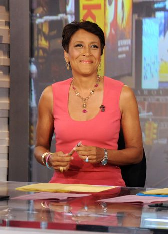 """**FILE** Robin Roberts, co-host of ABC's """"Good Morning America,"""" is seen here Aug. 20, 2012, during a broadcast of the show in New York. (Associated Press/ABC)"""