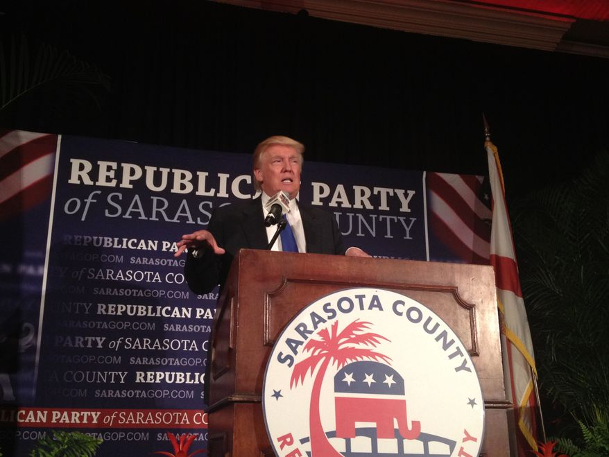 Donald Trump speaks to Sarasota Republican Party. Photo by Emily Miller